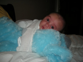 Baby Julian.6mos old with Blues Clues Puppy