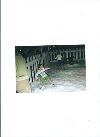julian at Moody Gardens.fake snow