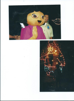 julian meets dora and sponge bob at Festival of Lights with Mummy Nov.2011.Moody Gardens Galveston.TX