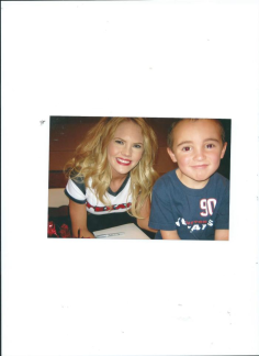 Julian with Texans Cheerleader.Galveston Beach Texas