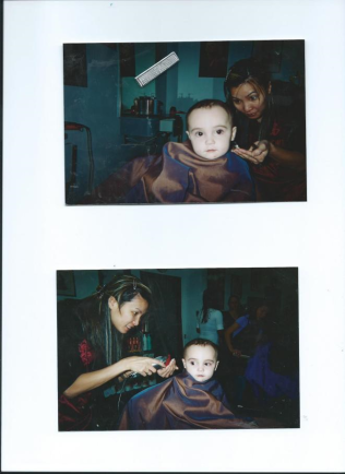 Julian's first haircut with Kim.North Houston.TX